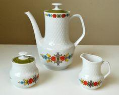 Vintage Mitterteich Bavaria Tea Set, Retro Tea Set, Bavarian Tea Pot