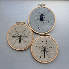 Embroidery hoop art insect / mosquito / bug by Oeroeboeroe on Etsy