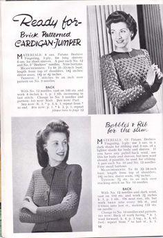 Vintage Knitting pattern womens WW2 Stitchcraft Dec 194312