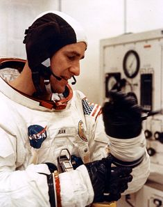 """humanoidhistory: """"November 14, 1969 — Apollo 12 astronauts Dick Gordon, Alan Bean, and Pete Conrad suit-up a 10-day odyssey to the Moon and back. (NASA) """""""