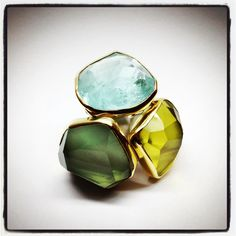 Rings by three at Deka. This group of oversized super stones from Margoni are, aquamarine, lemon quartz and green amethyst, all with 18k gold and sterling silver shanks. Love statements for your fingers!