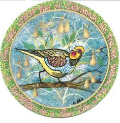 """""""Partridge in a Pear Tree"""" by P Buckley Moss. Porcelain Ornament. Issued 1995. Diameter: 3-5/16 ins.  $50."""