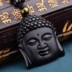 Natural Black Obsidian Hand Carved Lucky Buddha Amulet Pendant Charm Necklace