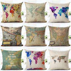 "18"" Vintage Cushion Cover Throw Pillow Case World Map Home Sofa Decor Cotton"
