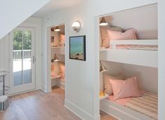 Francesca Owings Interior Design - girl's rooms - kids bunk room, girls bunk room, sleepover room, kids sleepover room, girls sleepover room. Bunk Bed Rooms, Bunk Beds Built In, Kids Bunk Beds, Built In Beds For Kids, Twin Beds, Kids Bedroom Designs, Bunk Bed Designs, Bedroom Ideas, Bedroom Decor