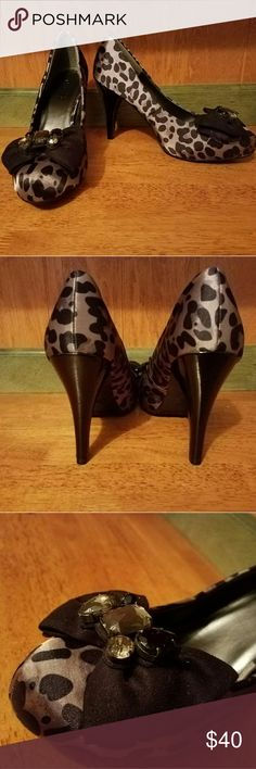 Candies heels Super fun leopard heels with gem bow detail Candie's Shoes Heels