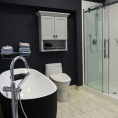 We have a beautiful soaker tub on display in our showroom if matte black is your thing. #ptbo #lovelocalptbo #bathroom #bath #bathroomrenovation #glassshower #shower #matteblack #tub #bathtub #showroom #DIY #design #renovation #matteblacktub #soakertub #modern #blackandwhitebathroom #marbletile #tile #plumbing #toilet