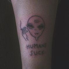 new tattoo for the lovely @flightless__raven #tattoo #alientattoo #handpoked #stickandpoke #selfmade #homemade #zigarette #smokingalien #humanssuck #tumblr