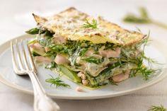 Lasagne van groene asperges en zalm