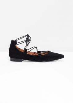 & Other Stories | Pointy Suede Lace-Up Flats
