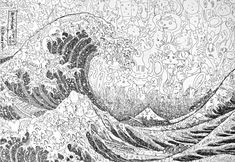 """Fine Art from Tiny Drawings - Tokyo artists Sagaki Keita creates fine art from hundreds of tiny drawings, like this rendition of the """"Great Wave off Kanagawa."""" The smaller drawings are sometimes silly or sinister, but each is balanced perfectly in light and dark to create the overall image."""
