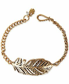 Lucky Brand Gold-Tone Feather ID Bracelet