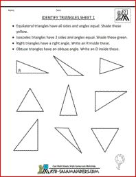 Identify Triangles, printable geometry worksheets 2nd grade
