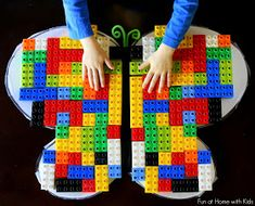 Have fun building LEGO butterflies and exploring symmetry. Check out other resources in this post for butterfly unit study. Lego Math, Lego Duplo, Lego Craft, Playdough To Plato, Lego Activities, Lego Games, Montessori Math, Kindergarten Math, Manualidades