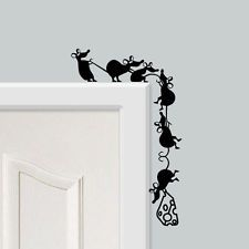 Funny Climbing Cheese Mice Vinyl Wall Stickers for Walls, Doors & Skirting