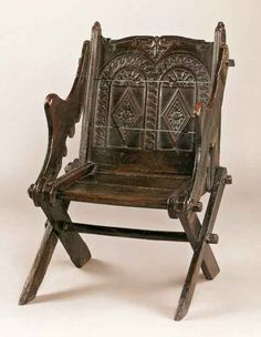 There are only 13 known genuine early examples of English oak Glastonbury chairs, circa 1504, which demonstrate this distinctive form that was widely copied in the 19th century.