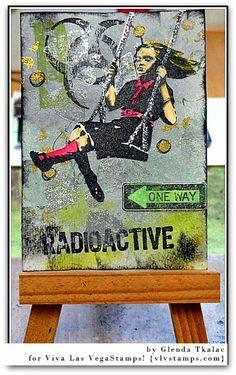 Brilliant Banksy!#Banksy inspired ATCs by Glenda Tkalac for Viva Las VegaStamps!