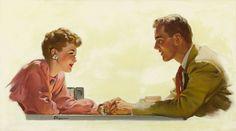 Just holding hands...illustration by Gil Elvgrin.