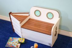 This nautical wooden toy box will allow your little ones can take to the high seas with this adorable boat shaped bench. This beautifully