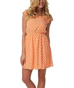 Another great find on #zulily! Orange & White Polka Dot Cap-Sleeve Dress #zulilyfinds