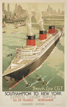 French Line Normandie ocean liner New York City art  poster print SKU3762