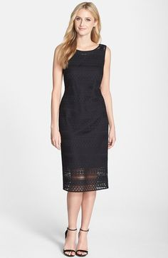 Ellen Tracy Crochet Midi Sheath Dress available at #Nordstrom $170