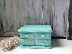 Aqua Vintage Jewelry Box Light Aqua Blue by WillowsEndCottage