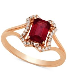 Certified Ruby (1-1/6 ct. t.w.) & Diamond (1/8 ct. t.w.) Ring in 14k Rose Gold - Red
