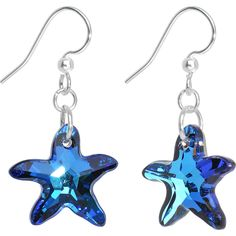 Blue Crystal Starfish Dangle Earrings Created with Swarovski Crystals