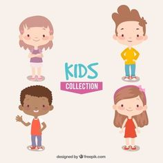 Collection of four smiling kids Free Vector Character Design Sketches, Character Design Animation, Happy Children's Day, Happy Kids, People Illustration, Cute Illustration, Heide Park, Children's Book Characters, Kids Vector
