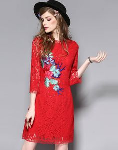 #VIPme Red Lace Floral Embroidery Sheath Dress ❤️ Get more outfit ideas and style inspiration from fashion designers at VIPme.com.