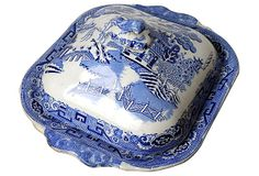 \19th-C.Blue Willow Dish & Cover