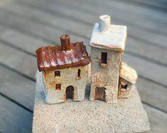Ceramic houses miniature house miniature clay house small pottery house holiday village terrarium housewarming gift fairy garden, SET OF 2
