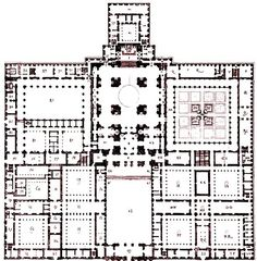 El Escorial Groundplan. Go to the site for a detailed description of the architecture and its history (in English).
