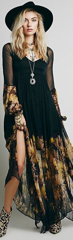 ╰☆╮Boho chic bohemian boho style hippy hippie chic bohème vibe gypsy fashion indie folk the . Absolutely LOVE this outfit! Indie Fashion, Trendy Fashion, Fashion Outfits, Gypsy Fashion, Fashion Boots, Fashion Spring, Trendy Style, Fashion Music, Fashion Ideas