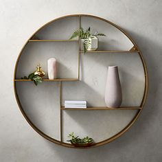 Bay Antique Brass Circle Wall Shelf is part of Brass Home Accessories Inspiration Shop Bay Antique Brass Circle Wall Shelf Ironframed wall shelf is the perfect marriage of form and function thank - Modern Wall Decor, Diy Wall Decor, Diy Home Decor, Green Wall Decor, Home Decoration, Hall Wall Decor, Homemade Wall Decorations, Plant Wall Decor, Wall Decor Design