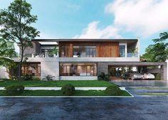 Facade Design, Exterior Design, Architecture Design, Modern Zen House, Modern House Design, House Plans Mansion, Architectural Design House Plans, Balcony Design, House Elevation