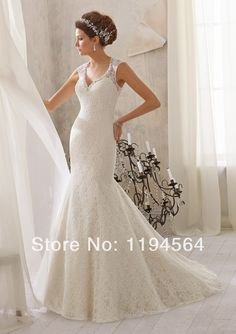 >> Click to Buy << Sheer Back V Neck Bridal Gowns Floor Length Beaded Mermaid White Lace Elegant Wedding Dress Fashion 2014 Free Shipping WH1246 #Affiliate