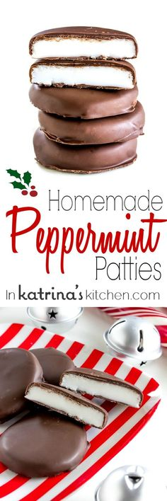Use this recipe to make the most delicious Homemade Peppermint Patties all year long- perfect for treats, homemade gifts, and holiday parties! Homemade Peppermint Patties, Homemade Candies, Homemade Gifts, Homemade Sweets, Candy Recipes, Holiday Recipes, Cookie Recipes, Dessert Recipes, Recipe Treats