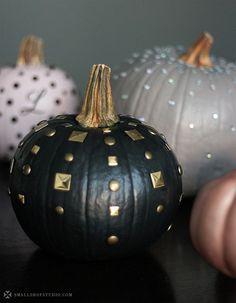 small shop diy edgy chic pumpkins, jewel dripped, gold studded, spiderweb monogram, pink, black, gold, gray, glam, punk