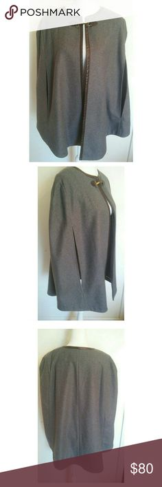 NWT BANANA REPUBLIC WOOL CAPE Never worn, beautiful wool cape with tags still on. Excellent condition. 100% wool. Leather trim with buckle. Banana Republic Jackets & Coats Capes