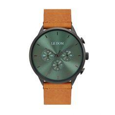 Ανδρικό ρολόι LE DOM LD.1436-8 Principal με πράσινο καντράν, διπλή ώρα, 24ωρη ένδειξη και καφέ λουρί | Ανδρικά ρολόγια Le Dom ΤΣΑΛΔΑΡΗΣ στο Χαλάνδρι #LeDom #Principal #ρολοι #tsaldaris Watches, Leather, Accessories, Clocks, Clock, Ornament