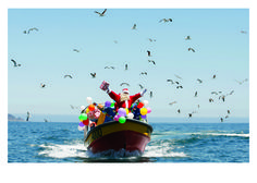 Santa on Boat - Palm Press Boxed Christmas Cards, Merry Christmas Santa, Christmas Items, Tropical Christmas, Beach Christmas, Have A Happy Holiday, Happy Holidays, Snowman Tree, Boat