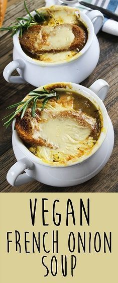 """Get ready to cry some happy tears, because you have found the vegan version of the classic, French Onion Soup. It's rich, savory & aromatic and covered with bubbly gooey """"cheese"""". C'mon over to Vegan Huggs for this yummy recipe. #vegansoup #frenchonionsou"""