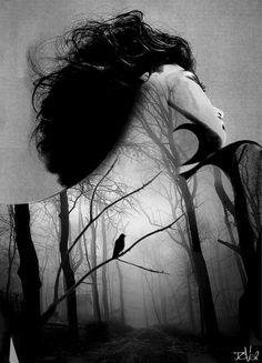 """inner night"" by Loui Jover Black White Photos, Black And White, Pop Art, Pin Up, Portraits, Illusion Art, Double Exposure, Photo Manipulation, Art Blog"