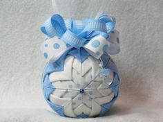 Baby Boy Quilted Ornament  no sew  blue by KCFabricOrnaments, $15.00