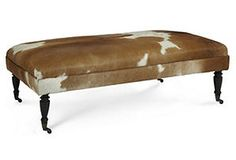 Landon Ottoman - circle one for seating area in family room?  cow/ animal print