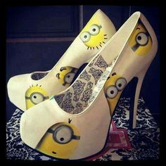 White High Heels with Minions. 👠