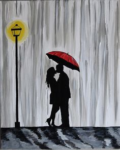 Original Couple in rain painting Couple kissing in by ArtbyRangrez, $50.00