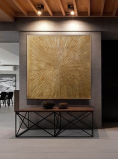 Champagne gold colored modern painting on canvas, home artwork Circle Painting, Painting Edges, Texture Painting, Grand Art Mural, Champagne Gold Color, Modern Console Tables, Canvas Home, Contemporary Home Decor, Texture Art